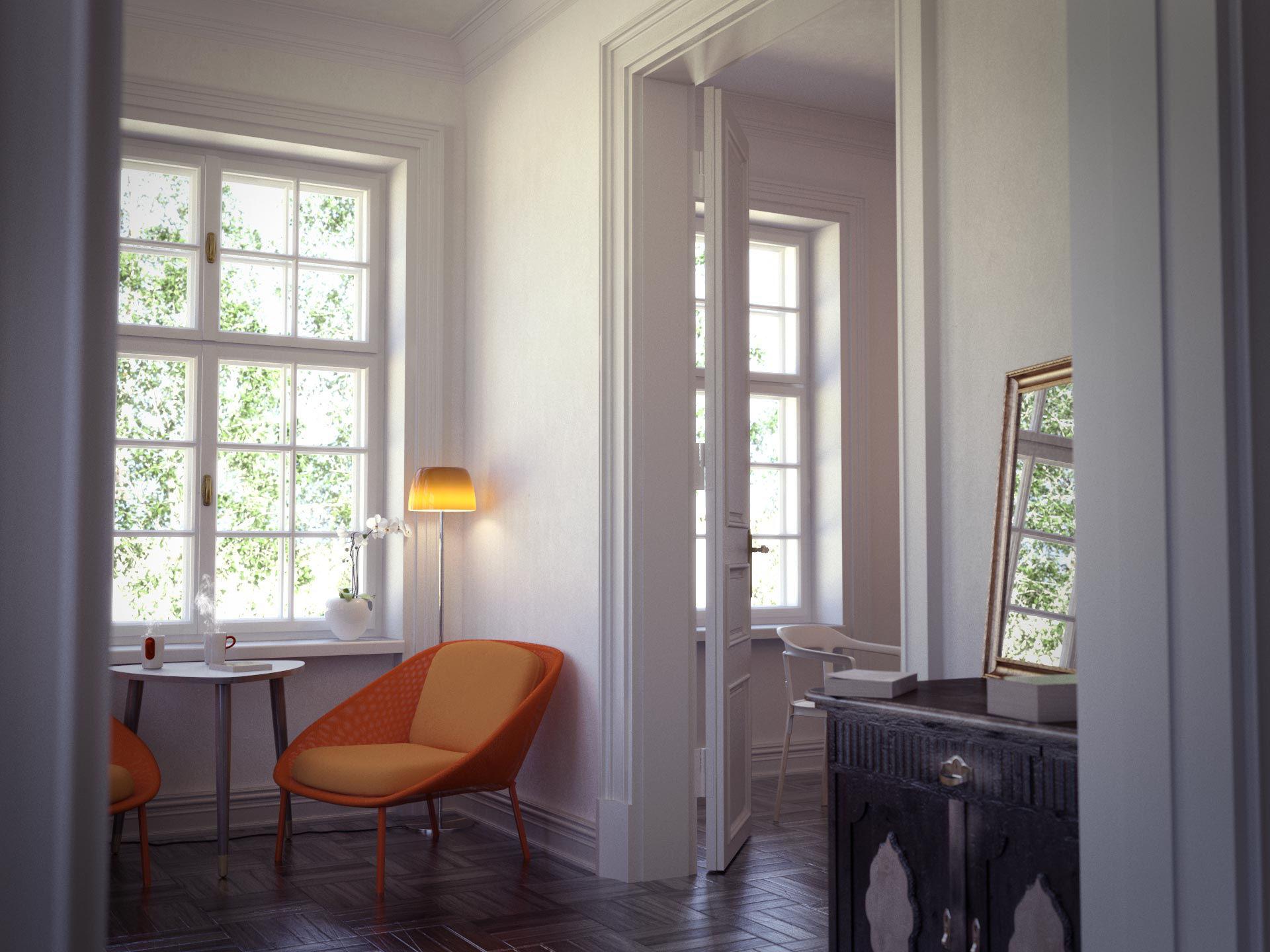 3d visualisation of a vintage livingroom by nanibystudio