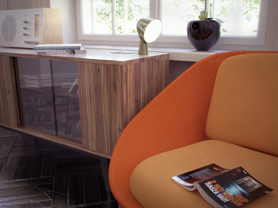 3d visualisation - vintage livingroom - makebelievegraphics