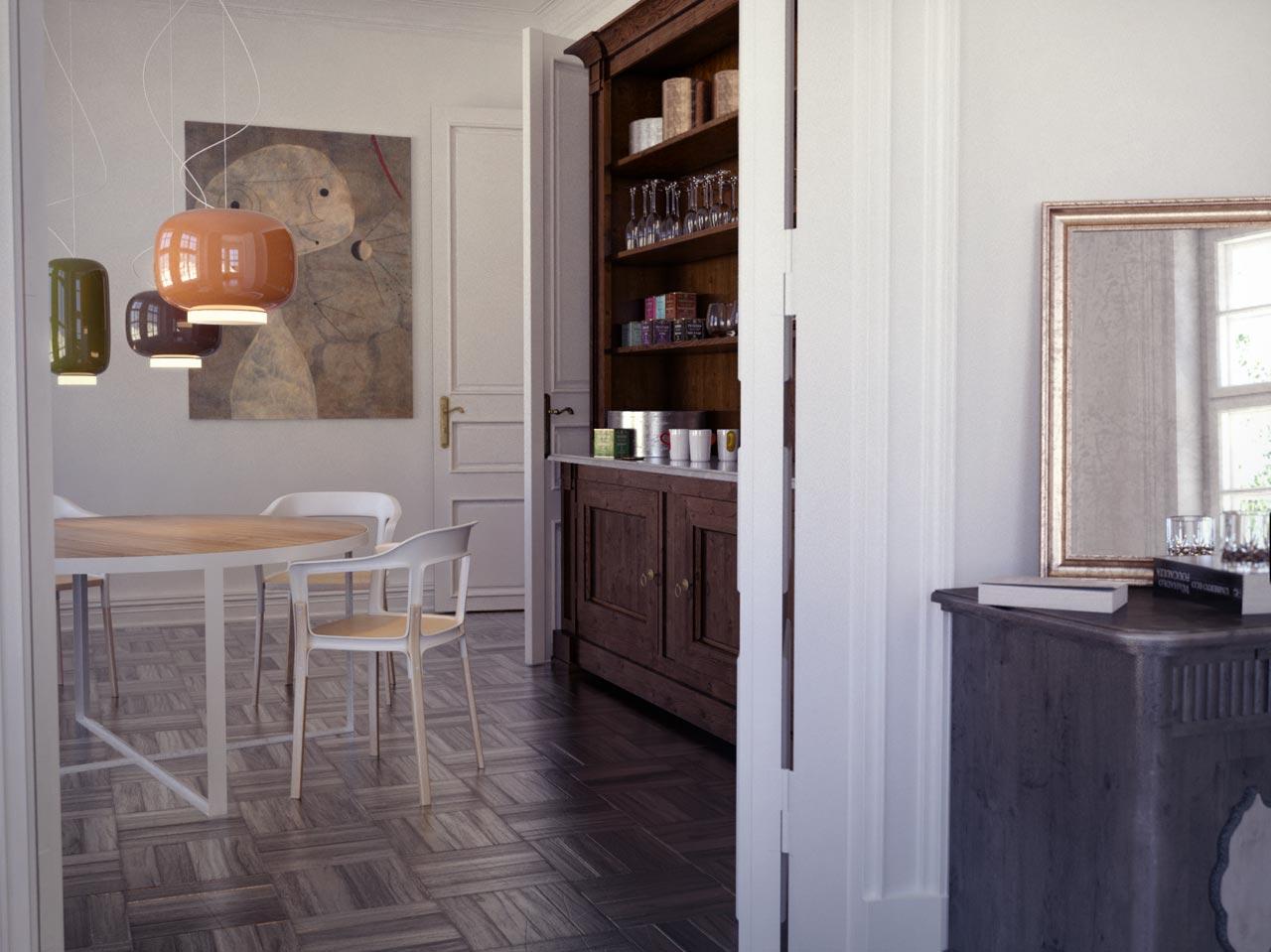 3D rendering of a vintage livingroom