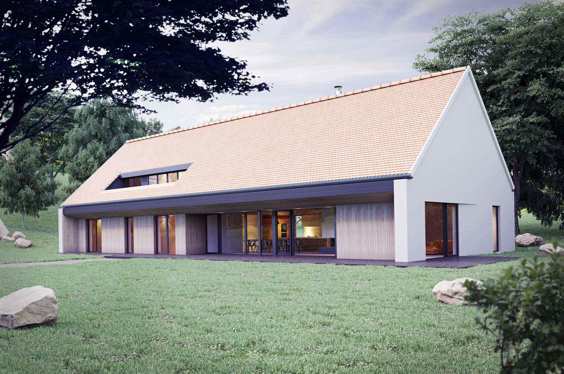 3D archviz of an one family house - exterior