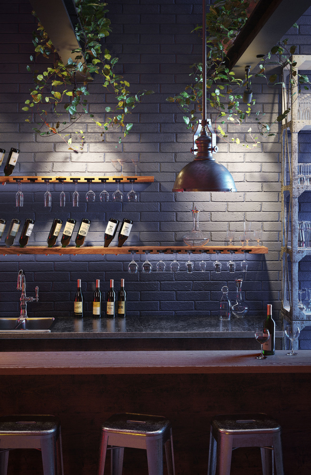 Product visualization: wine racks in the bar
