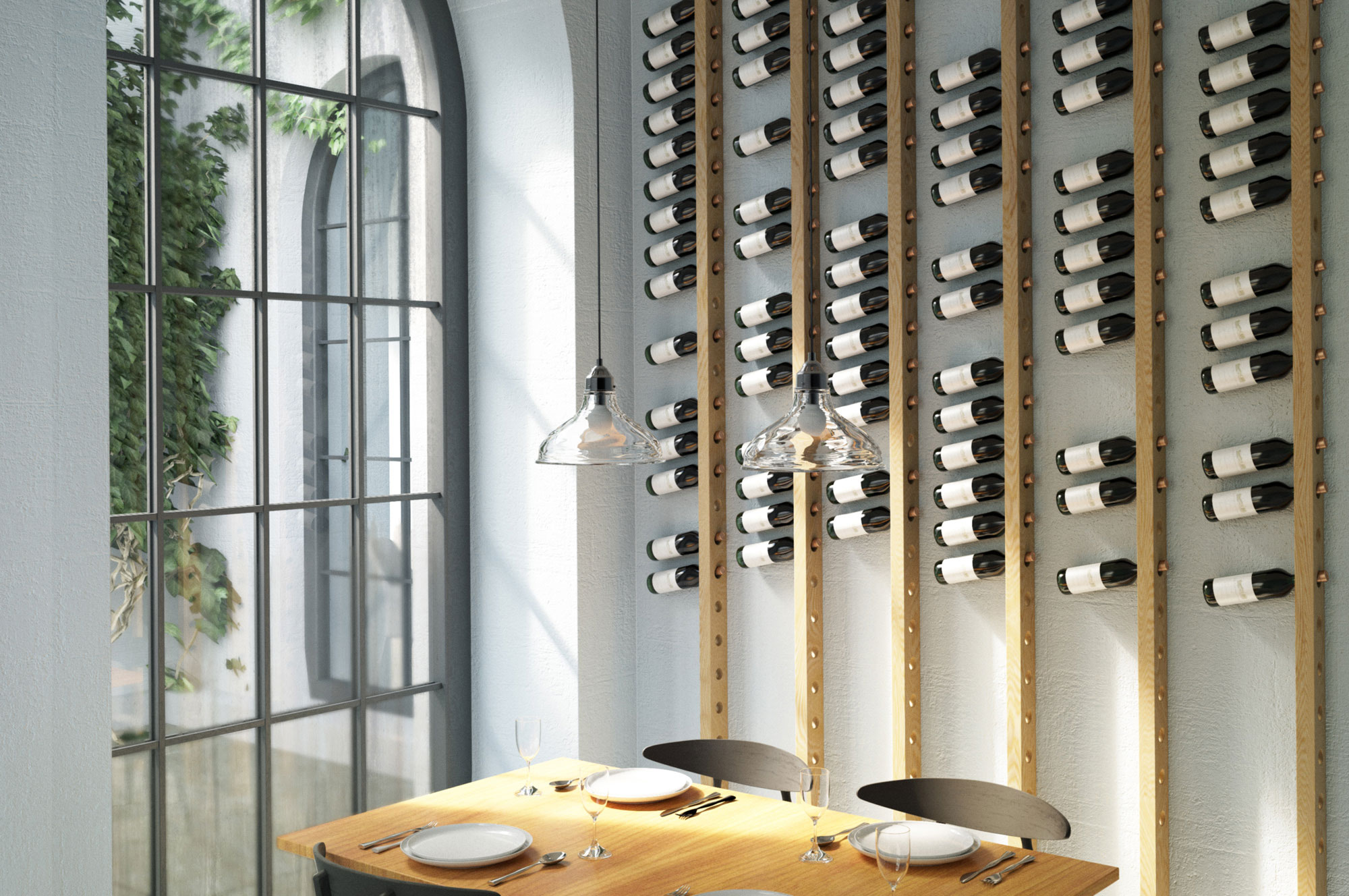 Product visualization: wine racks in an interior