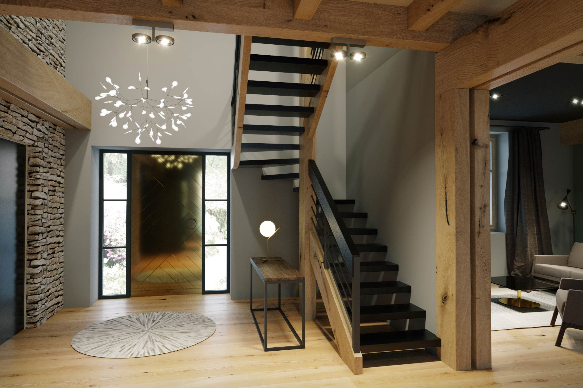 Visualization of a staircase in detached house