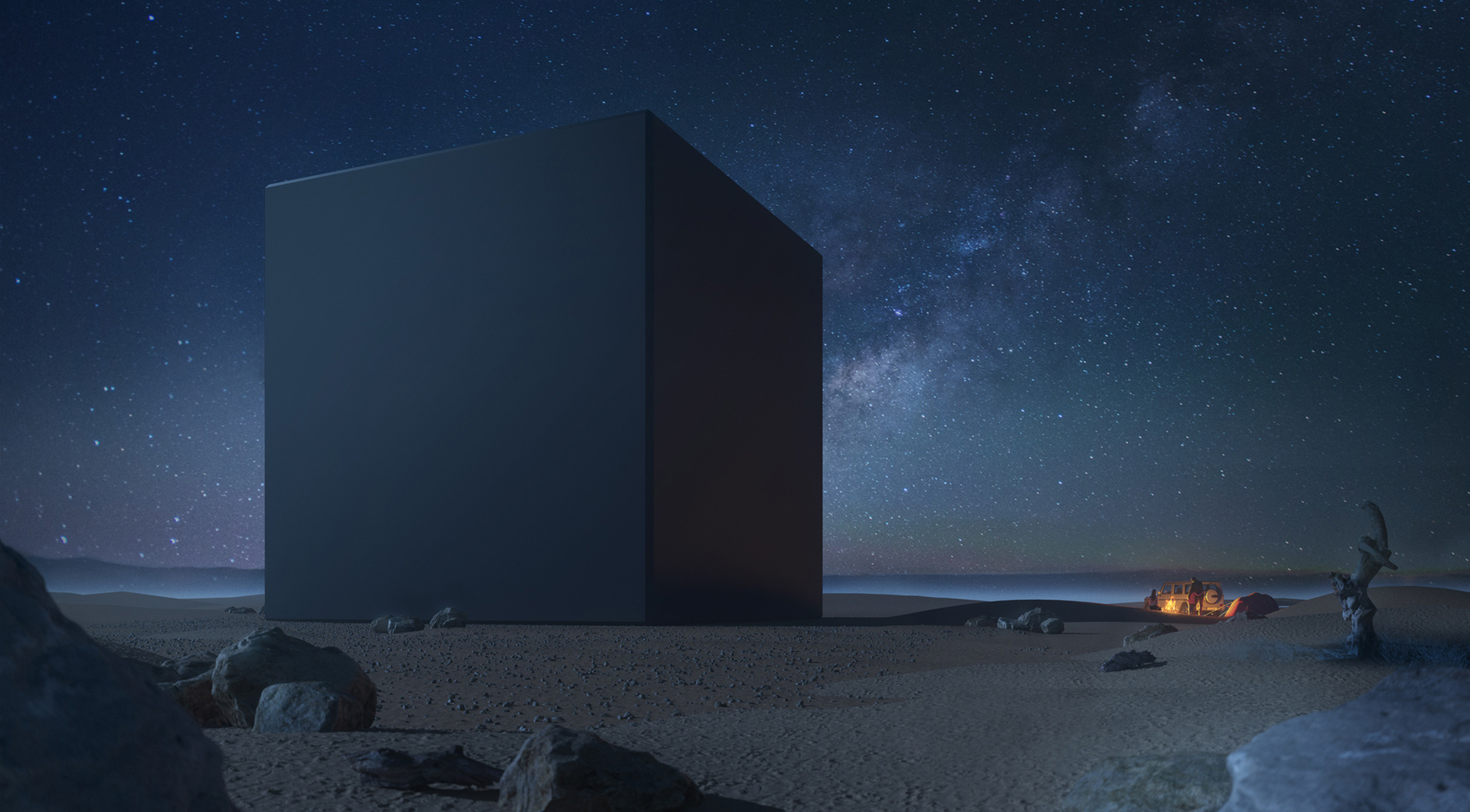 Monolith - 3D visualization of the monument by night