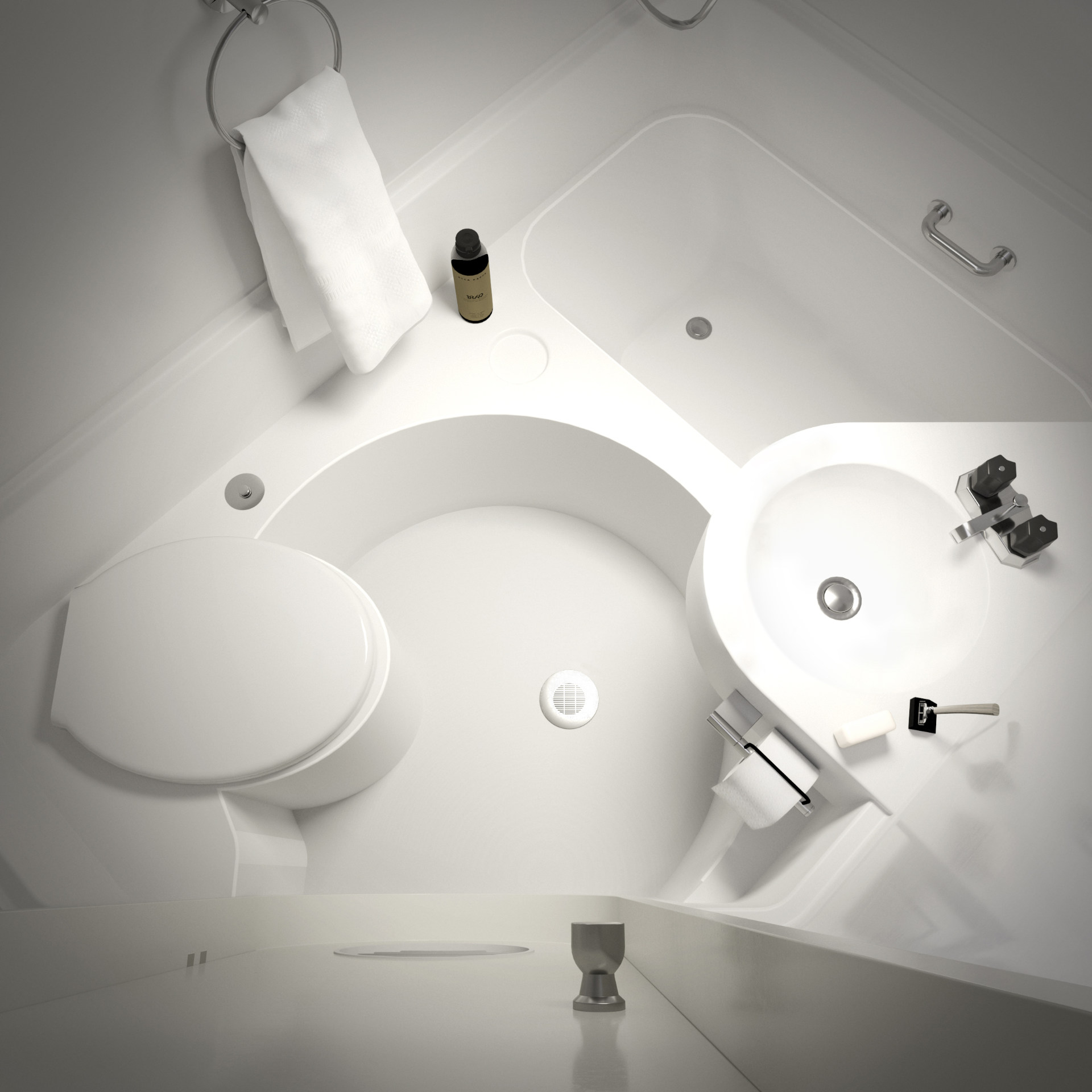 3D rendering of Nakagin Capsule - bathroom