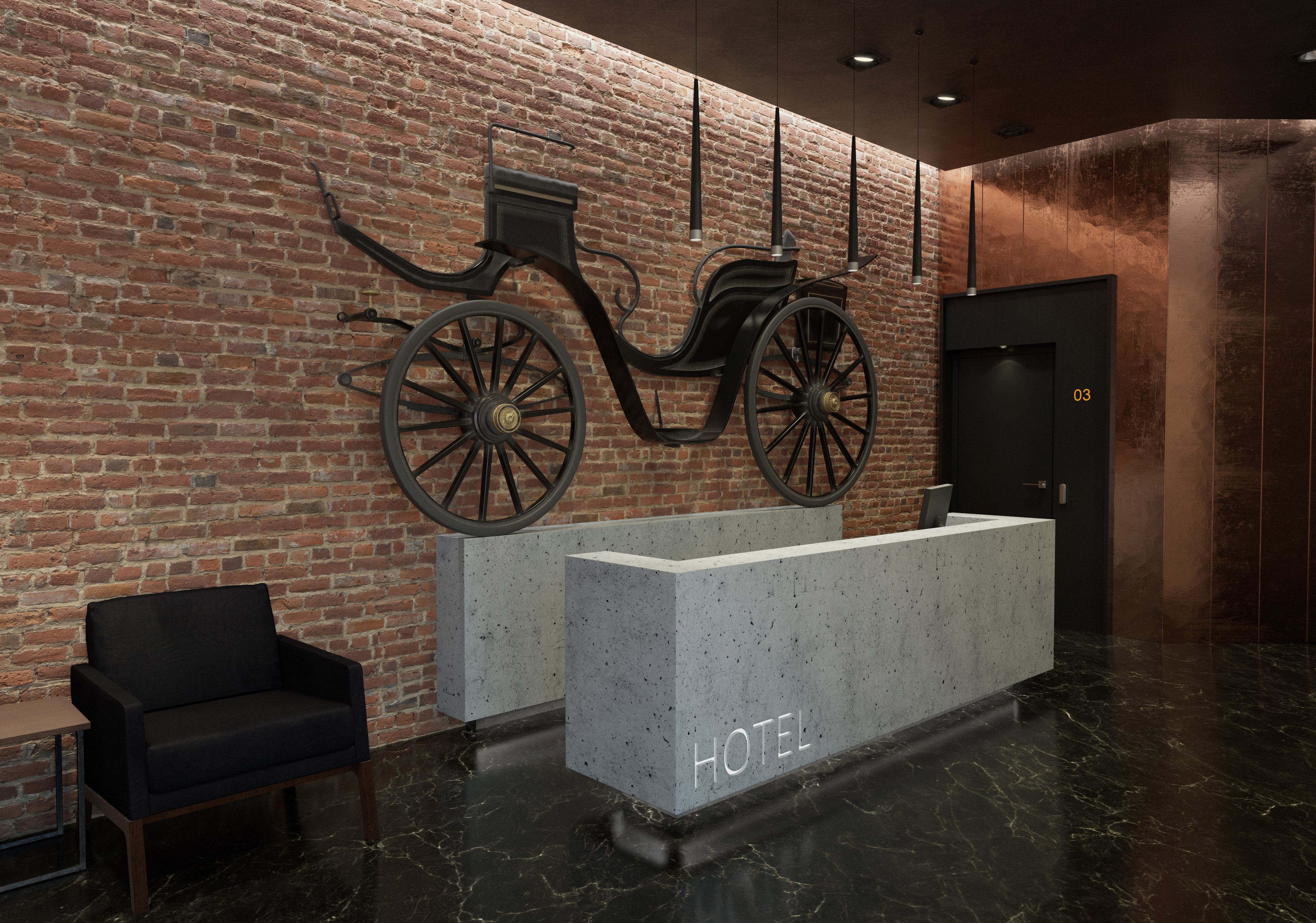 3D visualizations - hotel reception with black horse-drawn carriage
