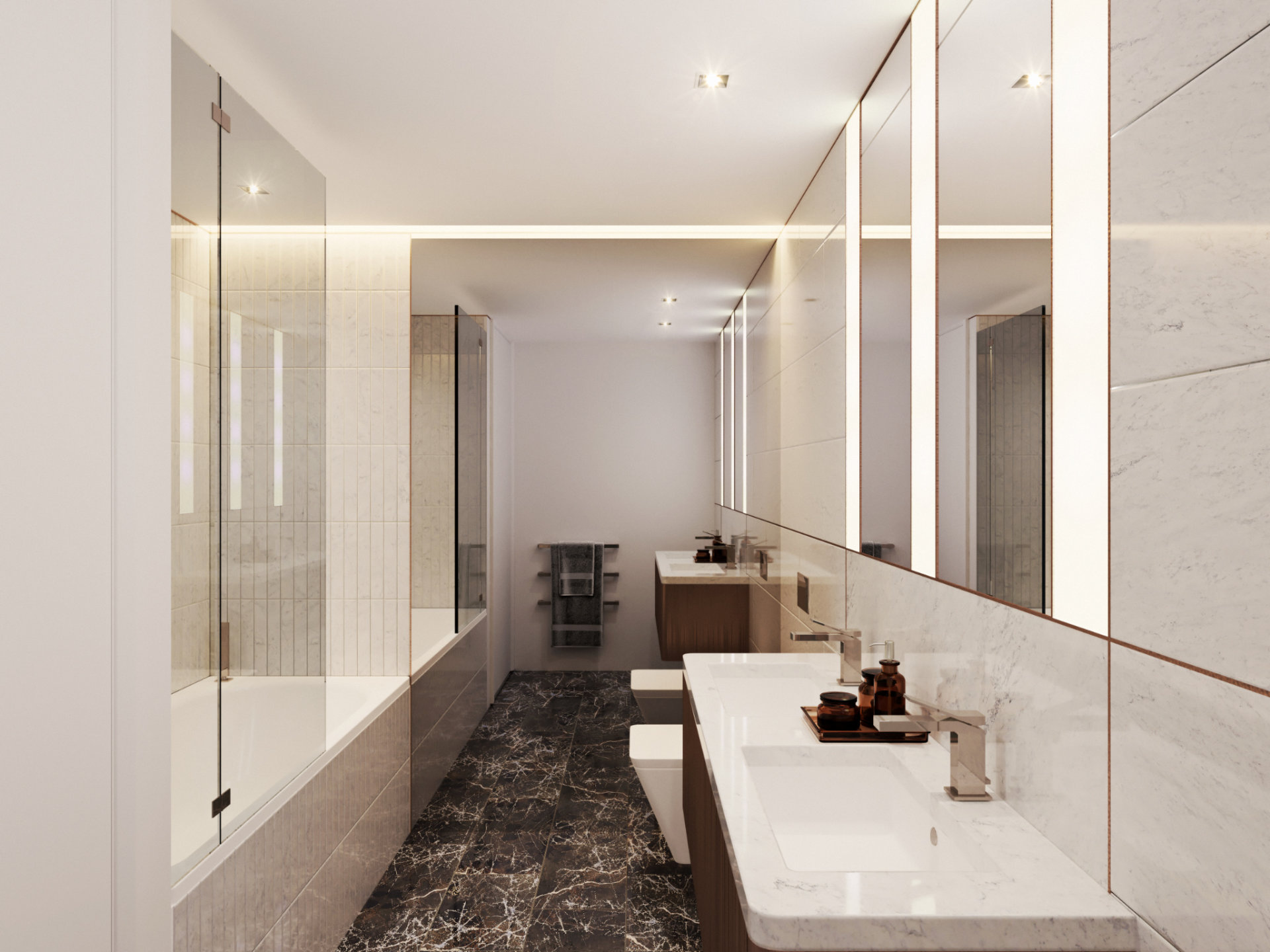 3D visualizationof a Bathroom - 3D visualization - Bowden Architecture - Great Portland Street by Bowden Architecture