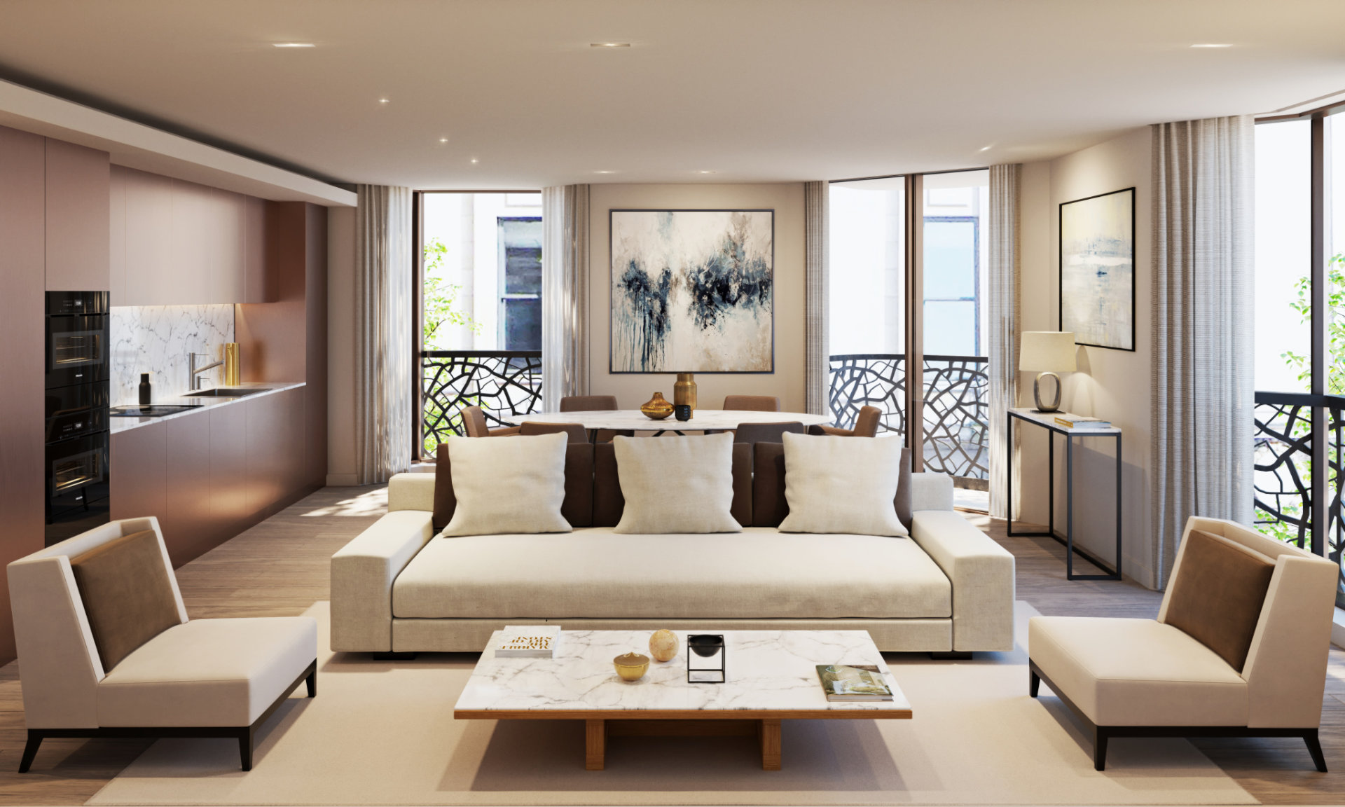 3D visualization Bowden Architecture Great Portland Street Living Room