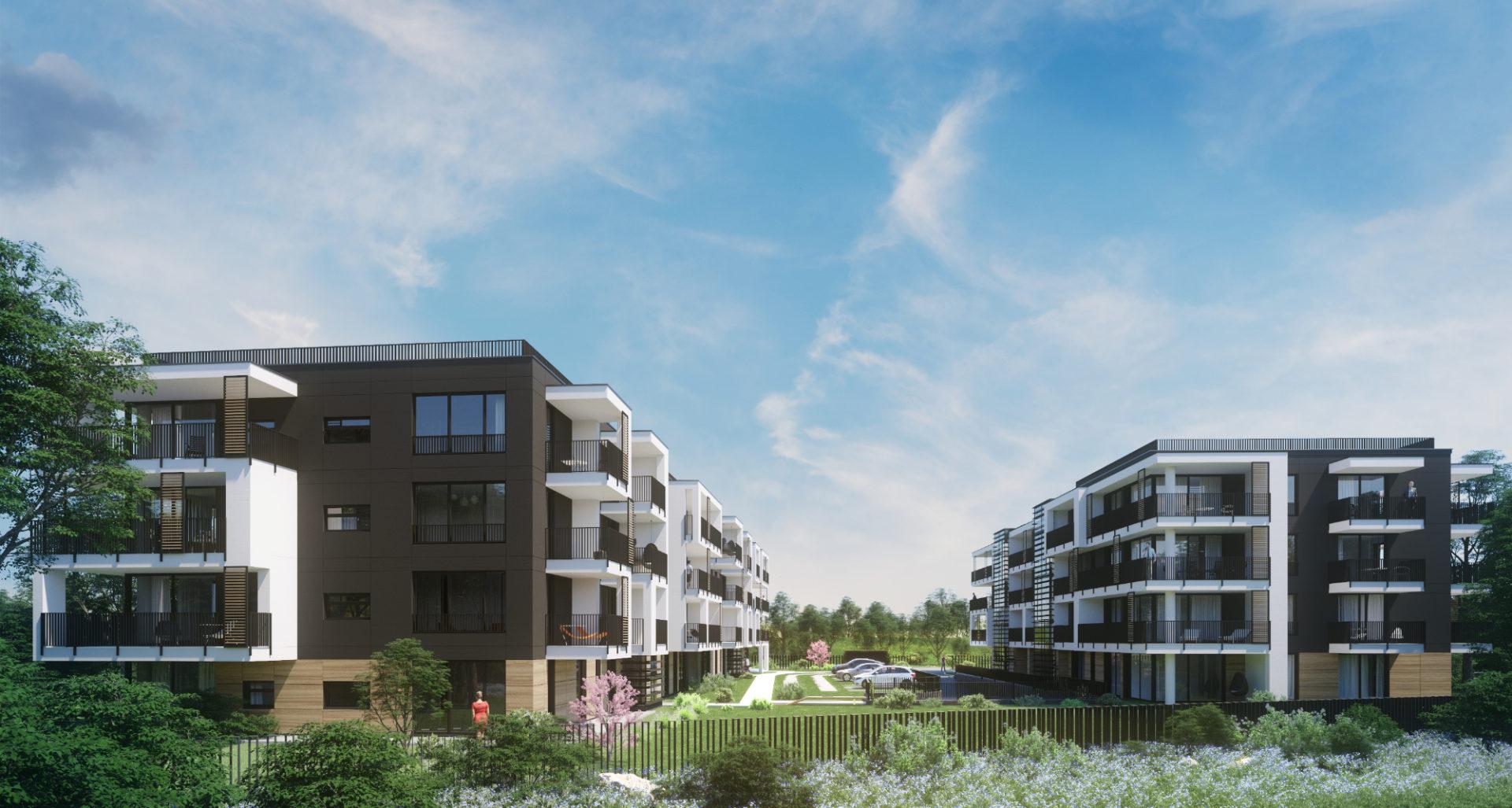 3D visualisation showing a housing development - exterior day